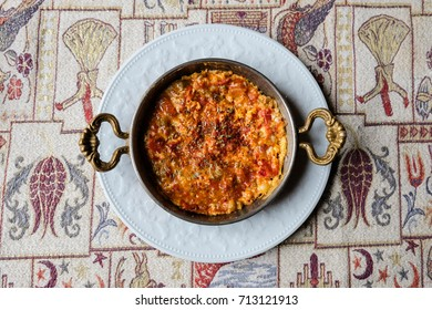 Menemen is traditional Turkish food. it's usually cook copper pan.