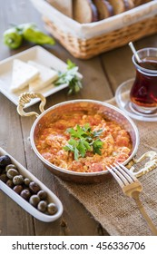 Menemen Turkish breakfast food egg.