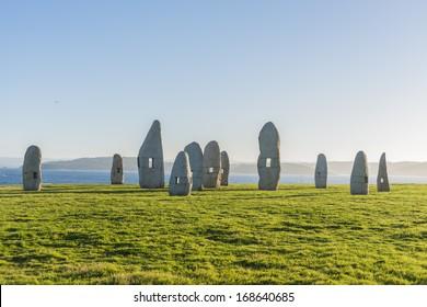 Menhirs park on Campo de la Rata in A Coruna, Galicia, Spain