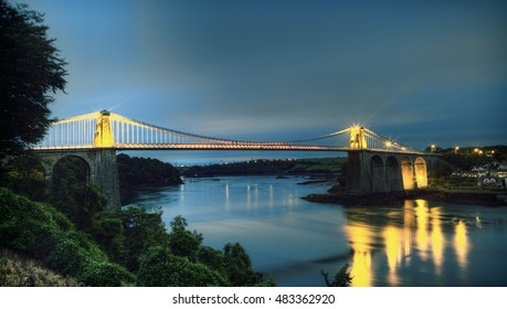 Menia, Wales, UK, September 5 2016 - The Menai Suspension bridge was designed by Thomas Telford and completed in 1826 and is a Grade I listed building which links Anglesey to mainland Wales.