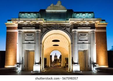 The Menin Gate Memorial to the Missing war memorial in Ypres, Belgium.