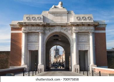 Menin Gate Memorial to the Missing in Ypres, West Flanders, Belgium.