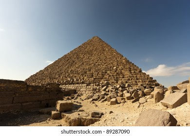 The Menkaure pyramid seen from the remains of its own funerary complex