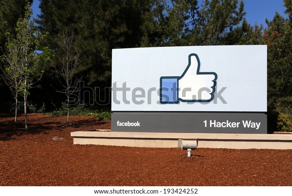 MENLO PARK, CA - MARCH 18: A sign at the entrance to the Facebook World Headquarters located in Menlo Park, California on March 18, 2014. Facebook is a popular online social networking service.