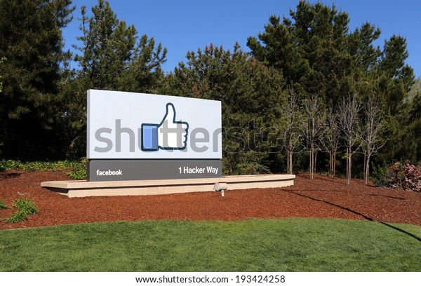 MENLO PARK, CA -Â?Â? MARCH 18: A sign at the entrance to the Facebook World Headquarters located in Menlo Park, California on March 18, 2014. Facebook is a popular online social networking service.