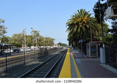 Menlo Park, CA, USA; August 2018: Menlo Park Caltrain Station was originally built in 1867 by the San Francisco and San Jose Railroad and acquired by the Southern Pacific Railroad.
