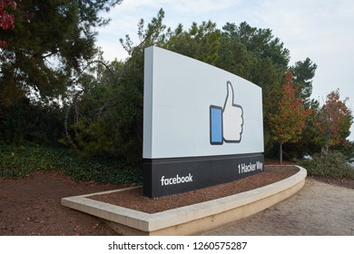 Menlo Park, California - Dec 9, 2018: The Facebook sign at Facebook headquarters.