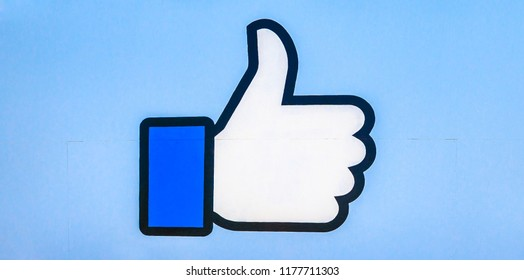 Menlo Park, California, United States - August 13, 2018: Facebook Like logo isolated from the sign at entrance to Facebook Headquarters, in Hacker Way, Silicon Valley. The Facebook Like Button sign.