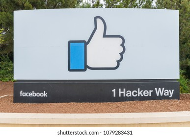 Menlo Park, California, USA - April 28, 2018: Sign of Facebook at the entrance of the headquarter in Silicon Valley. Facebook is an American online social media and social networking service company.