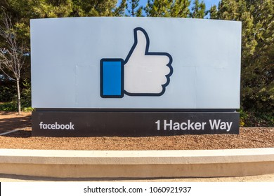 Menlo Park, California, Usa - March 29, 2018: Sign of Facebook at the entrance of headquarter in Silicon Valley, San Francisco. Facebook is an American online social media and social networking servic