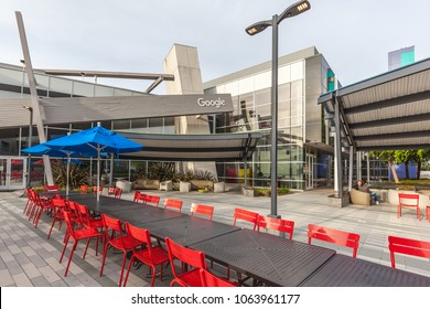 Menlo Park, California, USA - March 29, 2018: Buildings of Facebook at the entrance of headquarter in Silicon Valley. Facebook is an American online social media and social networking service company.