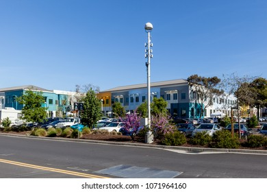 Menlo Park, California, USA - March 29, 2018: Buildings of Facebook headquarters in Silicon Valley California. Facebook is an American online social media and social networking service company.