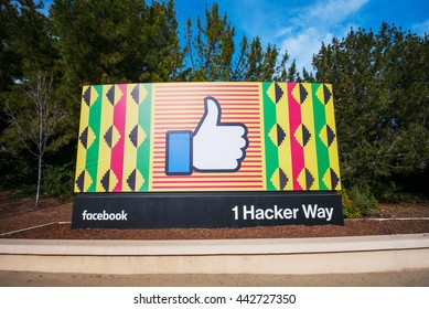 MENLO PARK, CA/USA - FEBRUARY 10, 2016: Facebook corporate headquarters campus sign in Silicon Valley supporting black history month. Facebook is a social networking website.