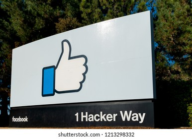 MENLO PARK, CA/USA - OCTOBER 21, 2018: Facebook corporate headquarters campus sign in Silicon Valley.