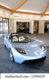 MENLO PARK-JULY 31: Tesla Roadster is the first plug-in electric car in years in production in the US. In July, Tesla Motors opened a showroom in Menlo Park, California, pictured on July 31, 2008.