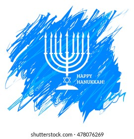 Menora or menorah with burning candles usually used at Hanukkah celebrations on watercolor sky background.