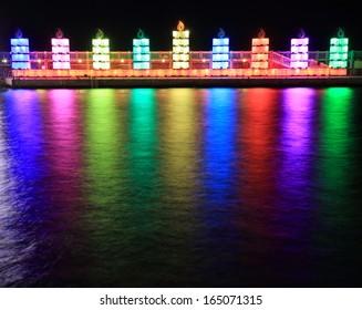 Menorah on the water for Hanukkah