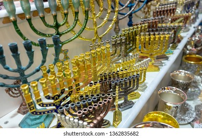 Menorah, a seven-lamp candelabrum used in contemporary Jewish temples, for sale at old market. Jerusalem. Israel