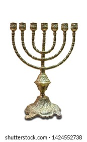 The menorah or seven-lamp Hebrew lampstand, symbol of Judaism since ancient times. Isolated