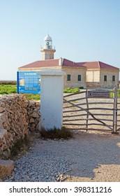 Menorca, Balearic Islands, Spain: Punta Nati lighthouse on July 12, 2013. Punta Nati lighthouse opened in 1913 in the far northwest of the island