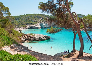 Menorca, Balearic Islands: view of Cala Mitjana and Mitjaneta on July 7, 2013. The bay of Mitjana and Mitjaneta belong to the Natural area of special interest of the southern coast of Ciutadella