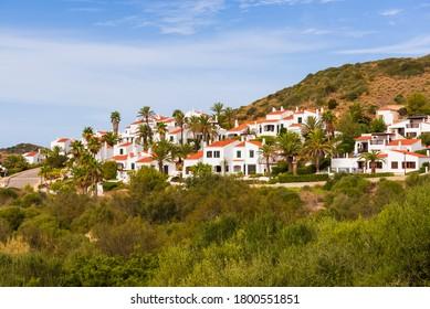 Menorca island in Spain - traditional Spanish summer villas on the hill