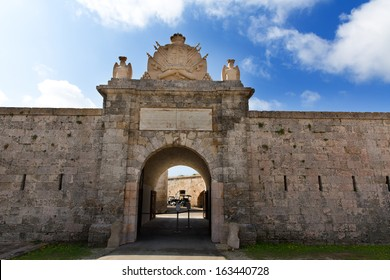 Menorca La Mola Castle fortress door in Mahon at Balearic islands
