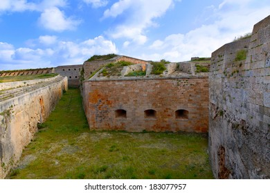 Menorca La Mola Castle fortress wall in Mahon at Balearic islands