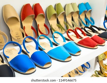 MENORCA, SPAIN - June 29, 2018: traditional Menorca sandals (named Avarca) in exposition