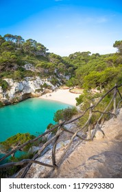 MENORCA, SPAIN - June 29, 2018: The most beautiful beach in Menorca during first hours of the day (07:00), summer season