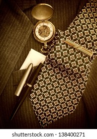 Men's accessories business background. Sepia image.