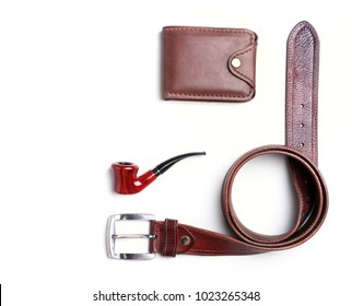 Men's accessories for business and rekreation. A professional studio photograph of men's business accessories. Top view composition