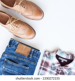 Men's accessories casual outfits, travel item on white background
