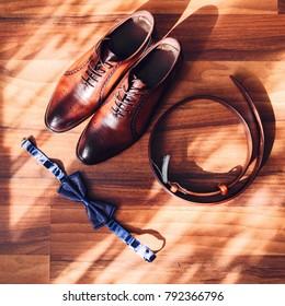 f1b32d0088d4 Wedding Accessories Groom Mens Stylish Brown Stock Photo (Edit Now ...
