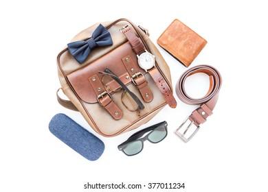 Men's accessories on white background