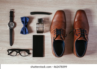 Men's Accessories Organized On The Table. Knolling Concept.