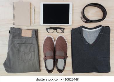 Men's accessories set, lay flat