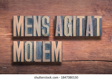 Mens agitat molem ancient Latin saying meaning - Mind moves matter, combined on vintage varnished wooden surface