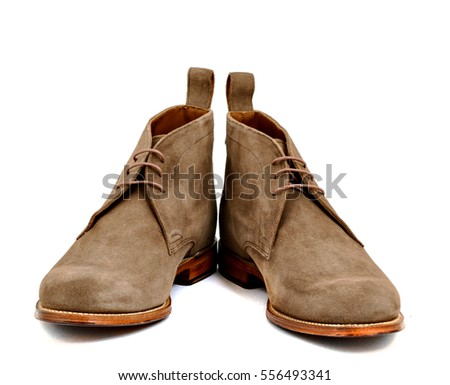 Men's almond suede boots isolated
