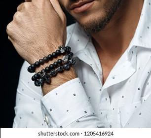 Mens beaded bracelet.
