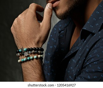 Men`s beaded bracelet.