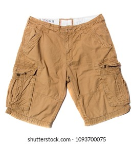 Men's Beige Cargo Shorts on white background