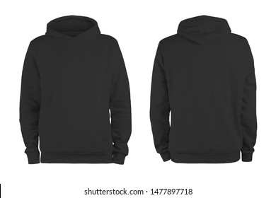 Men's black blank hoodie template,from two sides, natural shape on invisible mannequin, for your design mockup for print, isolated on white background