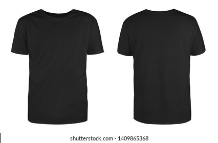 Men's black blank T-shirt template,from two sides, natural shape on invisible mannequin, for your design mockup for print, isolated on white background.
