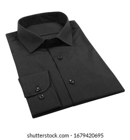 Men's black folded shirt with collar