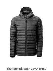 Men's black hooded warm sport puffer jacket isolated over white background. Ghost mannequin photography