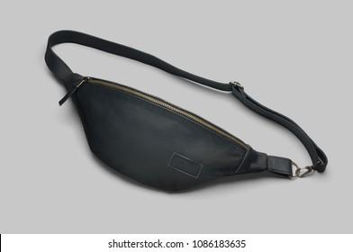 Men's black leather waist bag