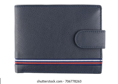 Men's black leather wallet isolated on white background