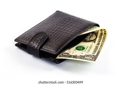men's black wallet money in cash white background