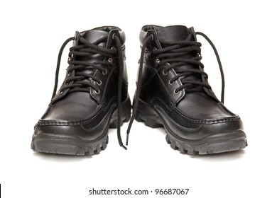 Men's black winter boots on a white background